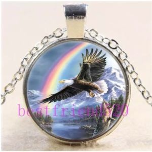 Eagle With Rainbow Glass Silver Pendant Necklace